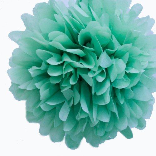 "Dress My Cupcake Mini 5"" Willow Green Tissue Paper Pom Poms, Set of 8 - Green Paper Flowers, Green Flowers, Green Tissue Poms"