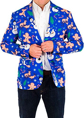 Christmas Suit (Men's Holiday Naughty Christmas Suit Coat and Tie By Festified (52))