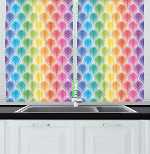 Ambesonne Trippy Decor Kitchen Curtains by, Rainbow Colors Abstract Gradient Toned Leaf Pattern Digital Soft Pastel Design, Window Drapes 2 Panels Set for Kitchen Cafe, 55W X 39L Inches, Multi ()