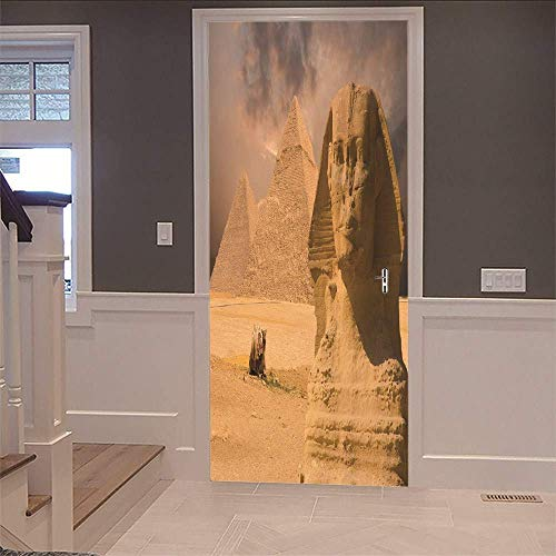 Egyptian Pyramids 3d - JQSM Egyptian Pyramid 3D Door Decorations Sticker Wall Mural (77X200Cm) Vinyl Removable Self Adhesive Art Stickers Poster for Tattoo Shop Beauty Hair Salon Door Decor Wallpaper