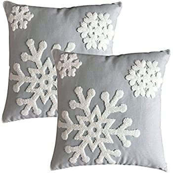 Elife Soft Square Christmas Snowflake Home Decorative Canvas Cotton Embroidery Throw Pillow Covers 18x18 Cushion Covers Pillowcases for Sofa Bed Chair (1 Pair, Grey)