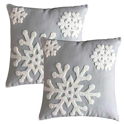 Elife Soft Square Christmas Snowflake Home Decorative Canvas Cotton Embroidery Throw Pillow Covers 18×18 Cushion Covers…
