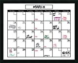 Framed Glass Dry Erase Board Large, White Calendar: Outer Size 30 x 24''