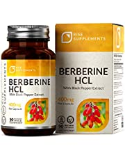 RS Berberin HCL 400 mg z ekstraktem z czarnego pieprzu – szybko się wchłania, 90 kapsułek wegańskich – niepodtrzymujący spalanie tłuszczu, reguluje poziom cukru we krwi i przemianę materii – bez GVO, glutenu i alergenów