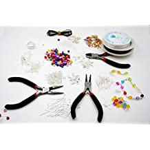 1000 Piece Deluxe Jewellery Making Starter Kit With Beads, Pliers, Cord, Silver Plated Accessories Set by TARGARIAN
