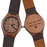 Men's Wood Watch, Natural Wooden Watch with...