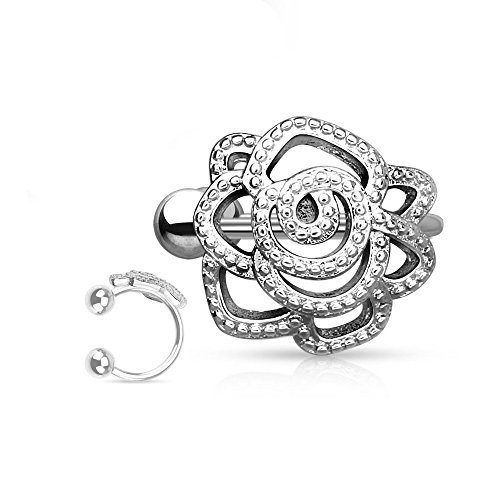 Amelia Fashion Non-Piercing Beaded Paved Rose Ear Cuff Polished 316L Surgical Steel (Silver Rose)