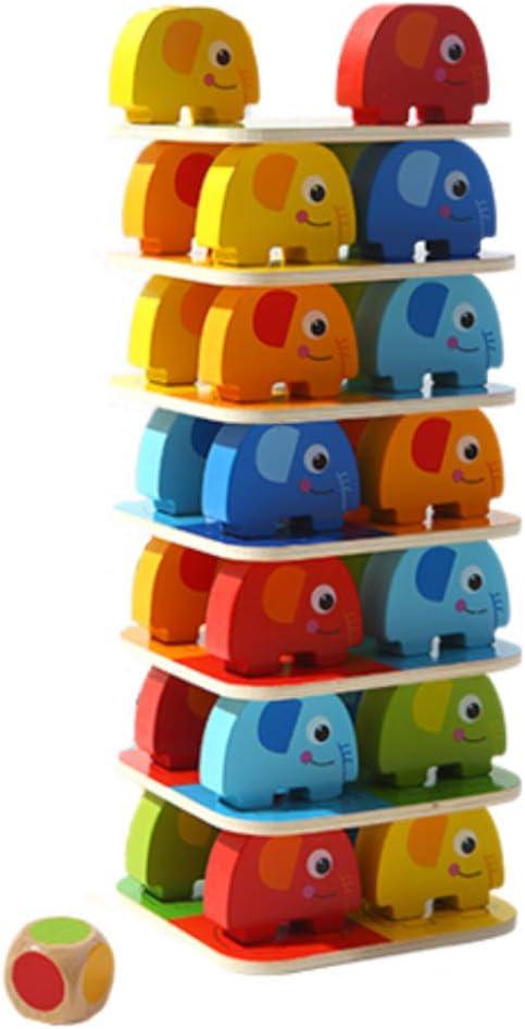 MENGLJ Jenga Bloquea El Rompecabezas De Los Niños De Juguete Torre De Apilamiento Juego De Mesa Juego De Padres E Hijos Pila De Capas Pila De Torre De Apilamiento De Empuje,Elephant: Amazon.es: