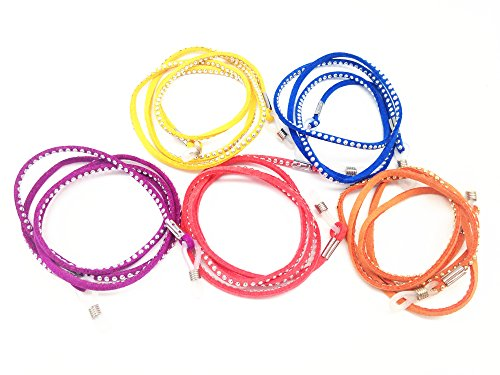 5 pcs Assorted Colors Suede Sunglass Holder Strap Eyeglass Chain Cord Lanyard