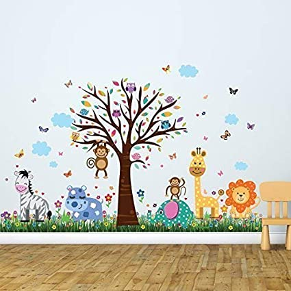"""84509ace1da5 Wall Stickers""""Happy Zoo & Butterflies Grass"""" Wall Murals  Removable Self-Adhesive Decals"""
