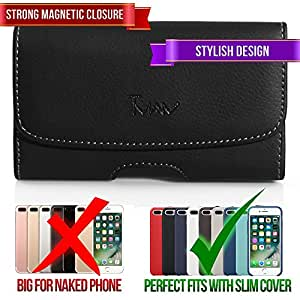 #1 TMAN Leather Premium Magnetic Closure Horizontal Medium Belt Clip Case Pouch Holster for BlackBerry Curve 8350i Curve 9220 Curve 9310 Curve 9315 Curve 9320 [PERFECT FITS WITH SILICONE CASE ON IT]