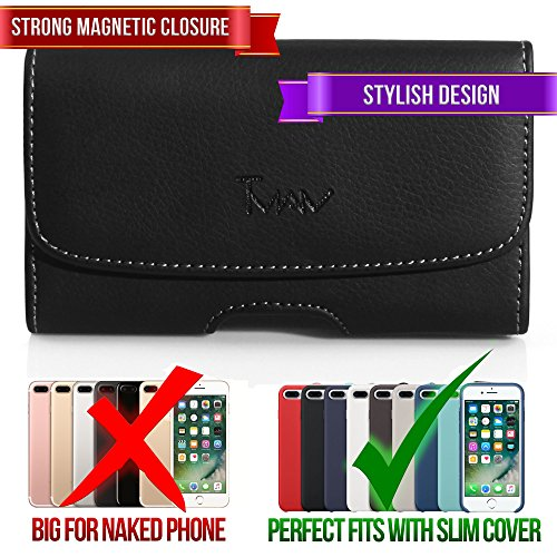 #1 TMAN Leather Premium Quality Magnetic Closure Horizontal Medium Belt Clip Case Pouch Holster for Sidekick LX 2007 LX 2009 T-Mobile Sidekick LX 2009, Mobiflip [PERFECT FITS WITH SKIN CASE ON IT]