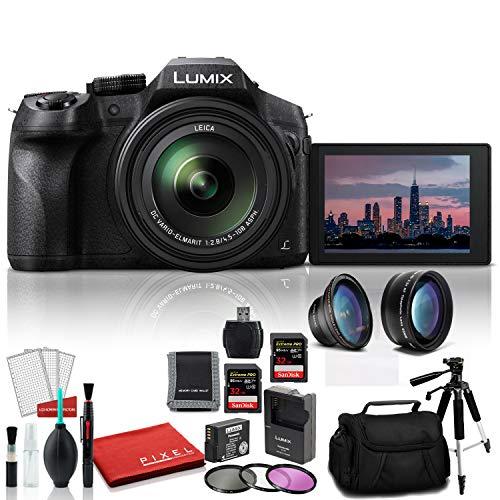 Panasonic Lumix DMCFZ300 Point and Shoot Digital Camera DMC-FZ300K – Bundle Kit with Extra Battery + 2-32GB SDHC Memory Cards + Digital Slave Flash + More