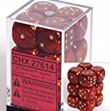 Chessex Dice D6 Sets: Scarab Scarlet with Gold