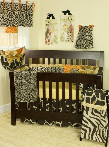 (Cotton Tale Designs Zumba 8 Piece Nursery Crib Bedding Set - 100% Cotton-Brown Safari Jungle Zoo Animal Prints Giraffe, Zebra,Cheetah, Leopard, Orange Floral, Polka Dots - Baby Shower Gifts Boys/Girls)