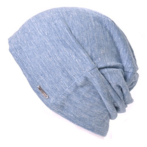 outlet store 4bf3a ac99e Linen Mens Summer Beanie - Slouchy Lightweight Knit Hat Cap Made in Japan  by Casualbox Blue