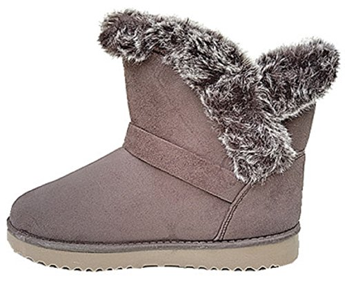 Girl 32305 Lady Taupe Heel Snow Fur Boot Shoe Bottine Winter Fur ARqP7gwPa
