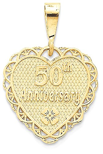 ICE CARATS 14k Yellow Gold 50th Anniversary Pendant Charm Necklace Special Day Fine Jewelry Gift Set For Women Heart by ICE CARATS