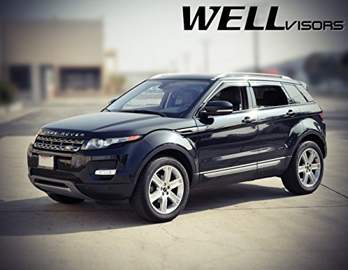 (Replacement for 2012-2018 Land Rover Range Rover Evoque Clip-ON Chrome Trim Smoke Tinted Side Rain Guard Window Visors Deflectors 3-847LR006)