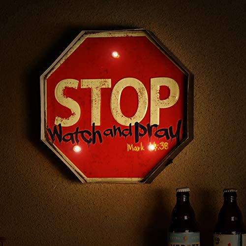 PANASIGN LED Sign Bar Decor for Home & Pub, LED Metal Sign Decorative Bar LED Metal Wall Light Sign (Stop ()