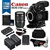 Canon EOS C100 Mark II Cinema Camera with Dual Pixel CMOS AF & EF 24-105mm f/4L IS II USM Zoom Lens Kit International Version (No Warranty)- Silver Plus Level Bundle