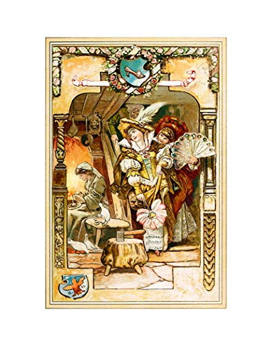 TFH California Beautiful Fine Art Prints from The Brothers Grimm Fairy Tale Book Titled Kinder - und Hausmärchen, 1812. Nursery Room Decor (Cinderella 8x10 Inch Print)