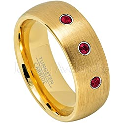 8mm Dome Yellow Gold Tungsten Ring, Comfort Fit Tungsten Wedding Band - 0.21ctw Ruby 3-Stone Ring - July Birthstone Ring