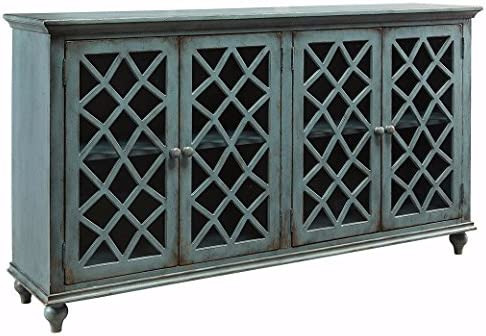 Ashley Furniture Signature Design - Mirimyn 4-Door Accent Cabinet - Antique  Teal Finish - Lattice Design Glass Inlay Doors - Amazon.com: Ashley Furniture Signature Design - Mirimyn 4-Door