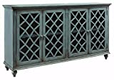 Ashley Furniture Signature Design – Mirimyn 4-Door Accent Cabinet – Antique Teal Finish – Lattice Design Glass Inlay Doors Review