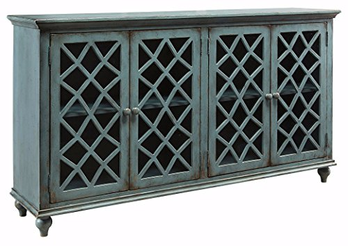 Furniture Antique Buffet (Ashley Furniture Signature Design - Mirimyn 4-Door Accent Cabinet - Antique Teal Finish - Lattice Design Glass Inlay Doors)