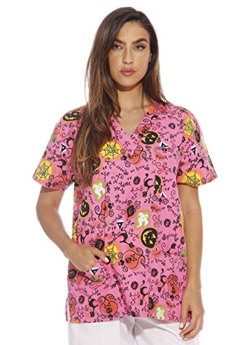 216VG-4-M Just Love Women's Scrub Tops / Holiday Scrubs / Nursing Scrubs, Neon Halloween With Glitter, Medium
