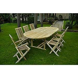 Concept-Usine Kajang: salón de jardín teca maciza 10/12personas–mesa ovalada 120cm + 6sillas + 2sillones