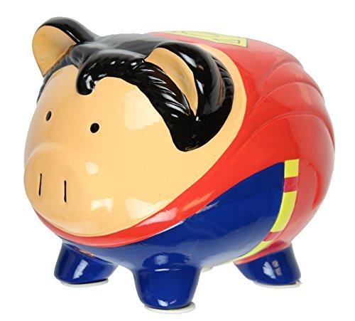 DC Comics SUPERMAN Pig Piggy Bank Coin Bank Ceramic Safe