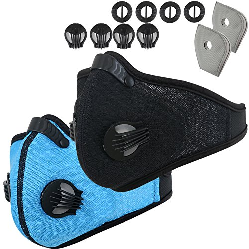 Activated Carbon Dustproof Dust Mask - with Extra Filter Cotton Sheet and Valves for Exhaust Gas, Anti Pollen Allergy, PM2.5, Running, Cycling, Outdoor Activities (Blue+Black, Type (Cage 2 Bat)
