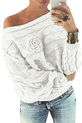 YOINS Women Off Shoulder Bat-wing Sleeves Random Point Floral Pullover Sweater, White, Small (White Wing)