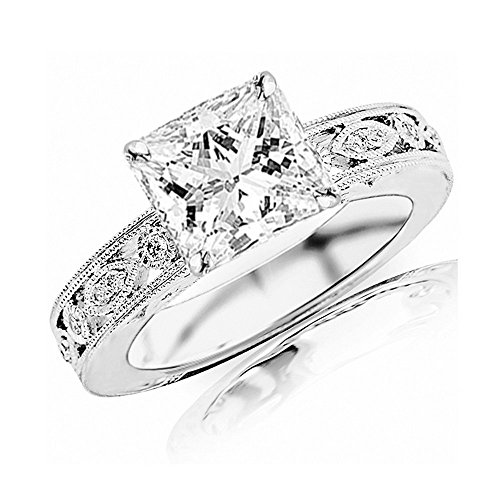 2.18 Ctw 14K White Gold GIA Certified Princess Cut Antique / Vintage Bezel Set Designer Diamond Engagement Ring With Milgrain, 2 Ct G-H VVS1-VVS2 Center Antique Princess Diamond Engagement Ring