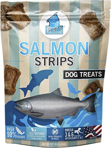 Plato Smart Dog All Natural Salmon Strips Dog Treats 6 Pack