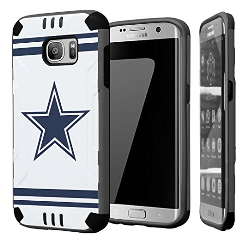 Galaxy S7 Edge Case, Capsule-Case Hybrid Dual Layer Silm Defender Armor Combat Case (Dark Grey & Black) Brush Texture Finishing for Samsung Galaxy S7-Edge SM-G935 - - Dallas Cowboys Cover