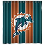 "Miami Dolphins Custom Waterproof Fabric Bathroom Shower Curtain 66""x72"""