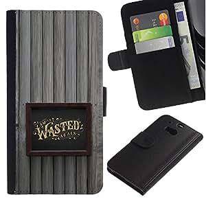 Stuss Case / Funda Carcasa PU de Cuero - Marco borracho Alcohol Oro Wasted - HTC One M8