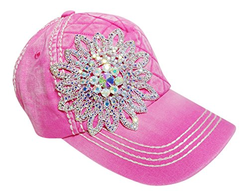 (AB Color Rhinestone Large Flower Quilted Front Baseball Cap Hat (Pink))