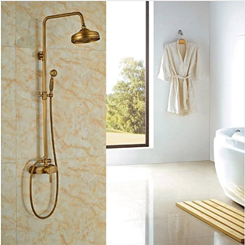 Gowe Contemporary Antique Brass Wall Mounted Shower Set Bath 8