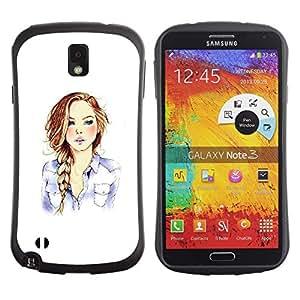 Suave TPU GEL Carcasa Funda Silicona Blando Estuche Caso de protección (para) Samsung Note 3 / CECELL Phone case / / Girl Fashion Hair Minimalist White /