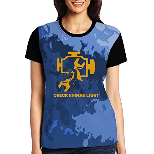 Check Engine Light Women's Crew Neck Short Sleeve Front Printed Baseball Tee (Engine Black Short Sleeve Tee)