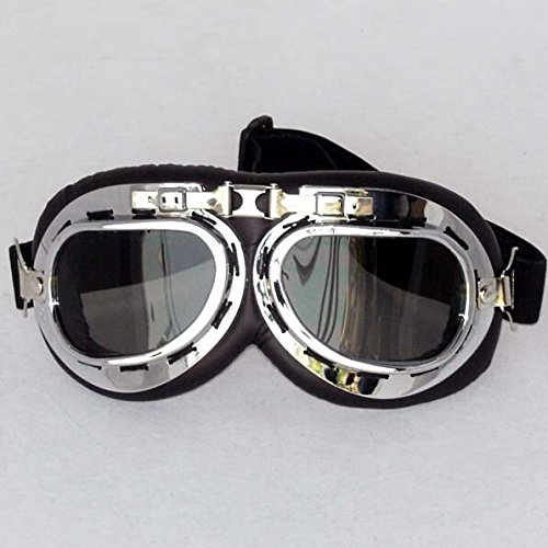 (Silver Outdoor Sports ATV Motorcycl Retro Glasses Riding Scooter Driving Flying Vintage Men Protect Riding Goggles Glasse Fit For Suzuki HAYABUSA/GSXR1300 2008 2009 2010 2011)