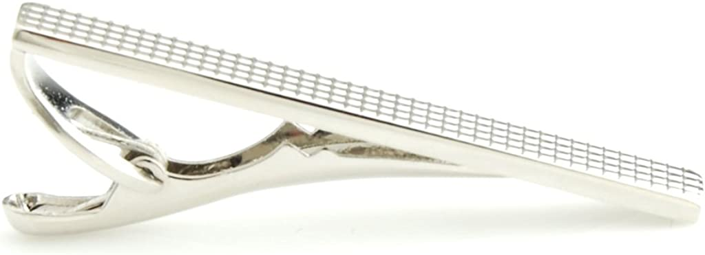 The Smart Man Mens Silver Grids Short Tie Clip