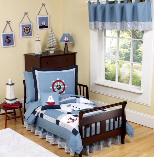 Sweet Jojo Designs 5-Piece Come Sail Away Nautical Toddler Boy Bedding Set