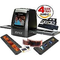 zonoz FS-ONE 22MP Ultra High-Resolution 35mm Negative Film & Slide Digital Converter Scanner w/ TV Cable, (1) Negative Tray, (4) Slide Trays & Worldwide Voltage 110V/240V AC Adapter (Bundle)