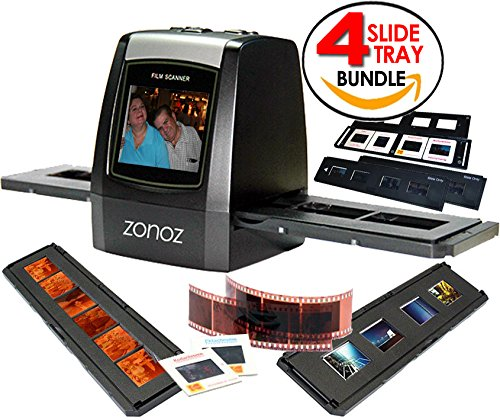 zonoz FS-ONE 22MP Ultra High-Resolution 35mm Negative Film & Slide Digital Converter Scanner w/ TV Cable, (1) Negative Tray, (4) Slide Trays & Worldwide Voltage 110V/240V AC Adapter (Bundle) by zonoz