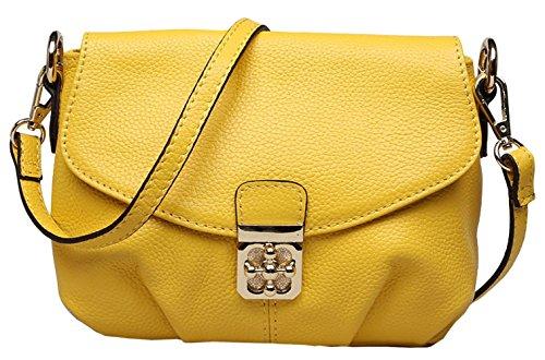 Shoulder Yellow Body Leather New SAIERLONG Bags Bags Cowhide Cross Genuine Womens 87wZaq